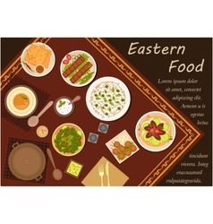Arabian cuisine food with festive dinner vector image