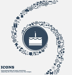 Birthday cake icon in the center around the many vector
