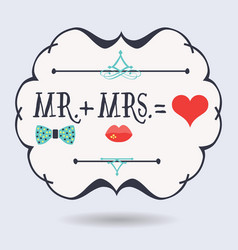 black abstract emblem with conceptual mr plus mrs vector image