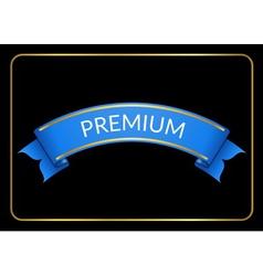 Blue ribbon banner premium black vector