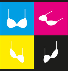 Bra simple sign white icon with isometric vector