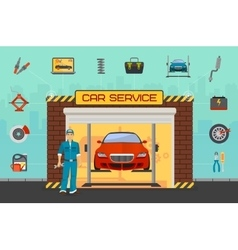 Car repair service center concept with tuning vector