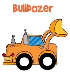 Cartoon bulldozer of art vector