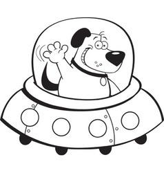 Cartoon dog inside a spaceship vector