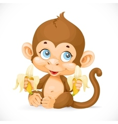 Cute baby monkey with banana isolated on a white vector image