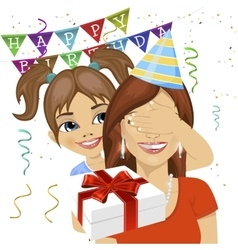 Daughter giving surprise gift at birthday party vector