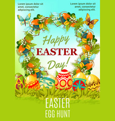 Easter holiday egg hunt cartoon poster design vector