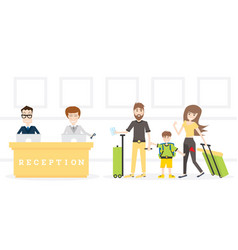 family on reception in hotel get key from room vector image