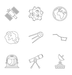 Galaxy icons set outline style vector