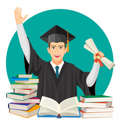 Highschool graduate with diploma in hands and vector