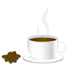 isolated cup of hot coffee in the morning with vector image