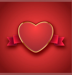 label tag ribbon with valentines day vector image vector image