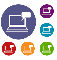Laptop with bubble speech icons set vector