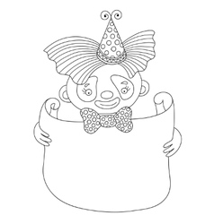 Line art of circus theme - clown with vector