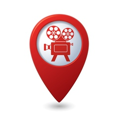 Map pointer with cinema icon vector image