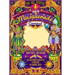 Mardi gras carnival poster template carnival mask vector