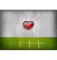 medical cardio heart grey green vector image vector image