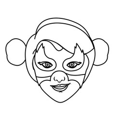 Monochrome contour of woman superhero with vector