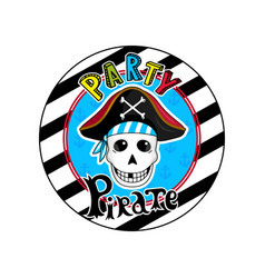 Pirate party sign with skull in cocked hat icon vector