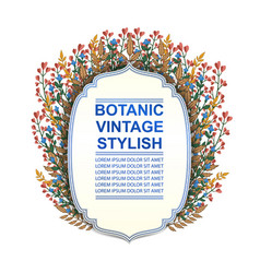 retro doodle floral frame vector image vector image