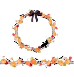 Round Halloween wreath with pumkins vector image vector image