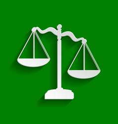 Scales of justice sign paper whitish icon vector