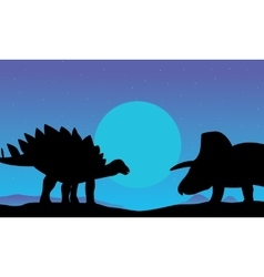 stegosaurus and triceratops scenery of silhouettes vector image