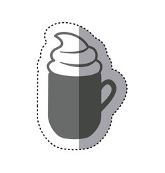 sticker monochrome silhouette mug of cappuccino vector image