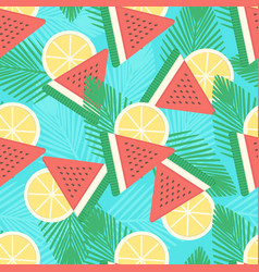 watermelon and lemon seamless pattern vector image
