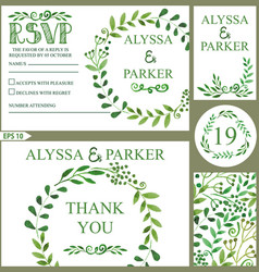 wedding invitation setwatercolor green branches vector image vector image