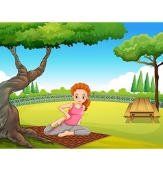 Woman doing yoga in the park vector image vector image