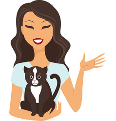 Young woman with cat vector