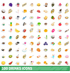 100 drinks icons set isometric 3d style vector