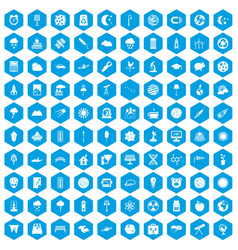 100 moon icons set blue vector