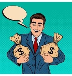 Smiling Businessman Holding Money Bags Pop Art vector image