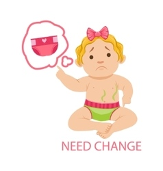 Little baby girl in dirty nappy needs change part vector