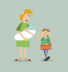 mother with children on walk vector image