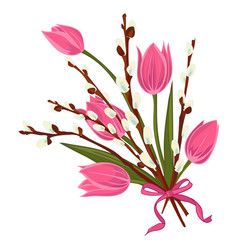 Spring floral background with beautiful bouquet of vector
