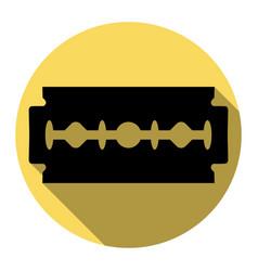 Razor blade sign flat black icon with vector