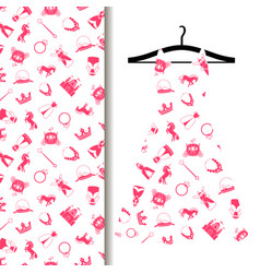 Women dress fabric with princess pattern vector