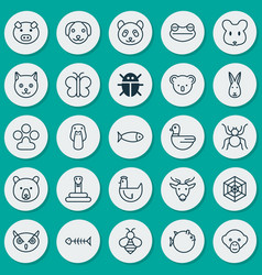 Zoology icons set collection of fish night fowl vector