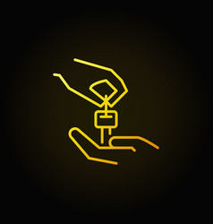 hands with car key yellow icon vector image