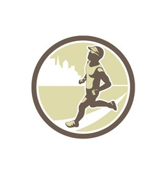 Triathlete running side circle retro vector