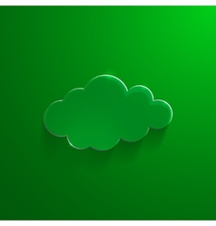 Green eco glossy glass cloud icon vector
