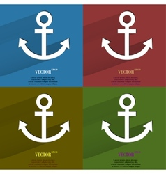 Color set anchor flat modern web button with long vector