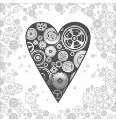 Gearwheel heart-shaped mechanism background vector