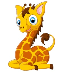 Cartoon giraffe sitting vector