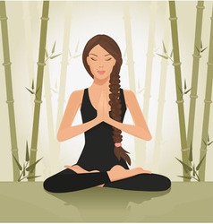 Woman meditating yoga vector