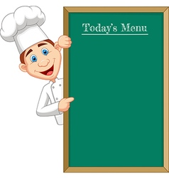 Cartoon chef cloche pointing at menu board vector