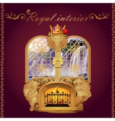 Window pattern and fireplace with lions figures vector